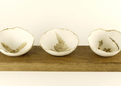 Vivienne Sillar, set of 3 bowls on reclaimed oak stand, Image Chris Farrow