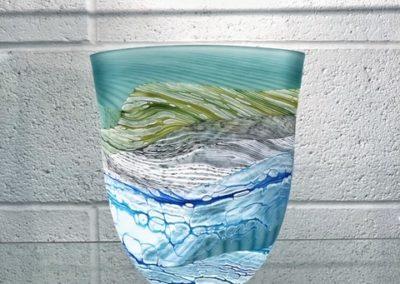 Thomas Petit Glass - Sea Shore Spring Tides - Medium Flat Vase