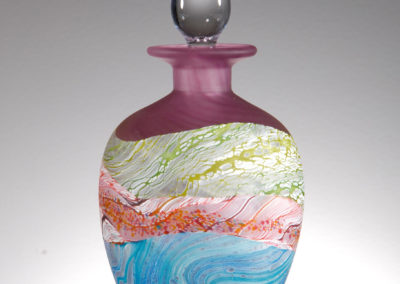 Thomas Petit Glass. Sea Shore - Amethyst. Medium and Small Round Stoppered Bottle
