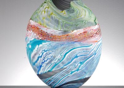 Thomas Petit Glass. Sea Shore - Stormy Skies. Medium and Small Teardrop Vases