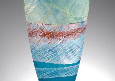 Thomas Petit Glass. Sea Shore - Waves. Medium Tall Vase